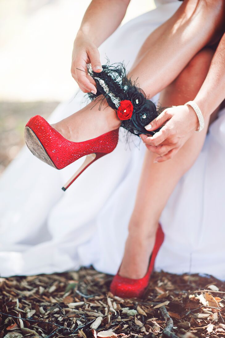 "Dianna wore a pair of bright red heels purchased from Aldo Shoes. ""We stumbled upon her six inch red heels while walking the mall,"" says Mike. ""She took one look and said, ""Those are my shoes."" So red was in."""
