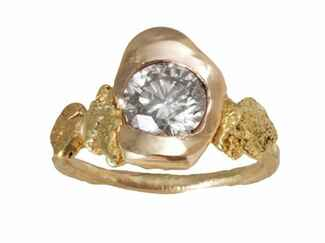 Blair Lauren Brown yellow gold nugget and diamond ring