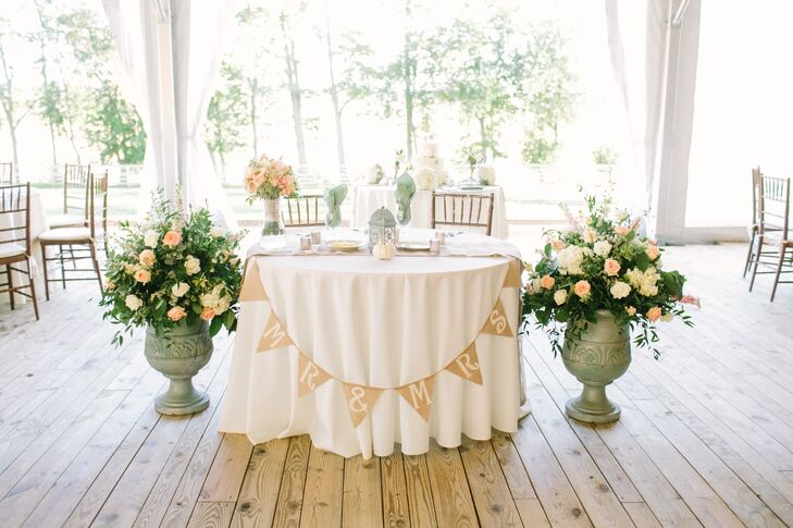 Charming Bunting Sign on Sweetheart Table
