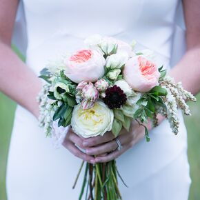 Neutral Colored Garden Rose Bridal Bouquet