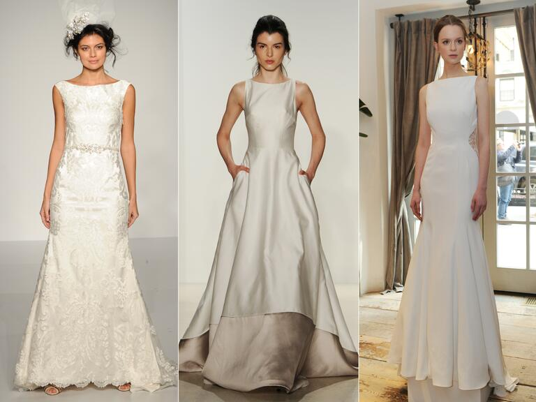 Wedding dresses with bateau necklines