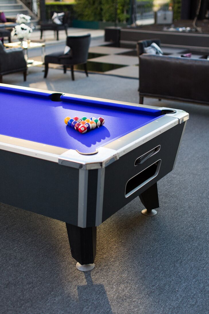During cocktail hour and after dinner, guests played several games, including pool.