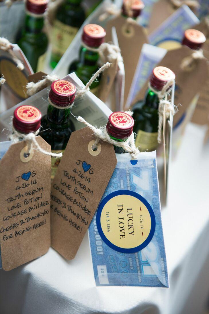 Mini Whiskey Bottle Wedding Favors