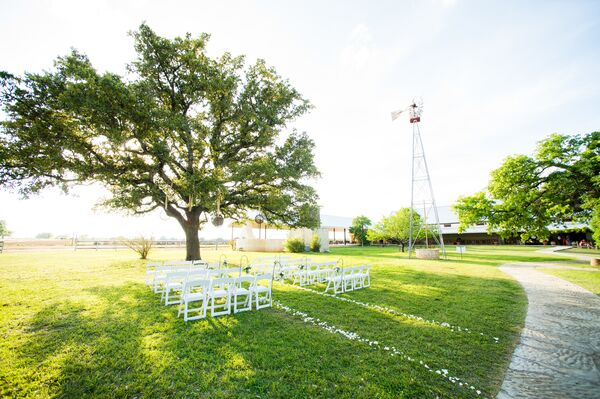 Outdoor Ceremony by Tree at Vineyard
