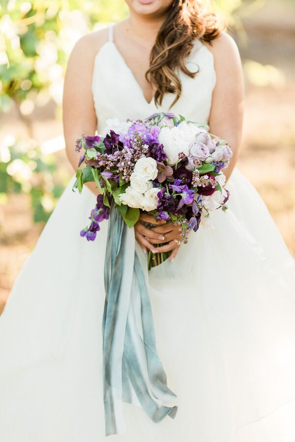 Purple Rose and Sweet Pea Bouquet with Watercolor Ribbon