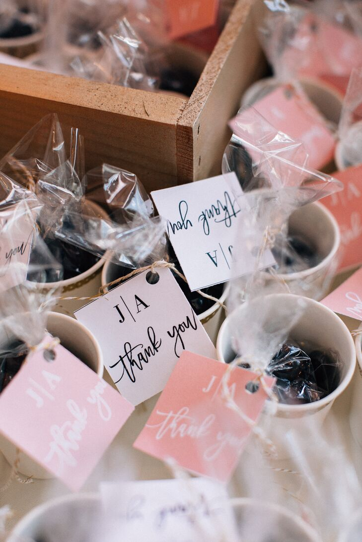 "Favors were chocolate-covered espresso beans, ""because what's better than chocolate and coffee all in one?"" Ashley says."