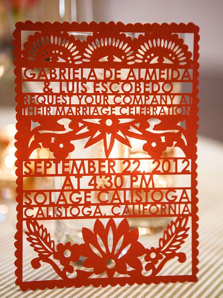 Laser-cut papel picado wedding invitation idea