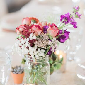 Mason Jar Wedding Flower Arrangements