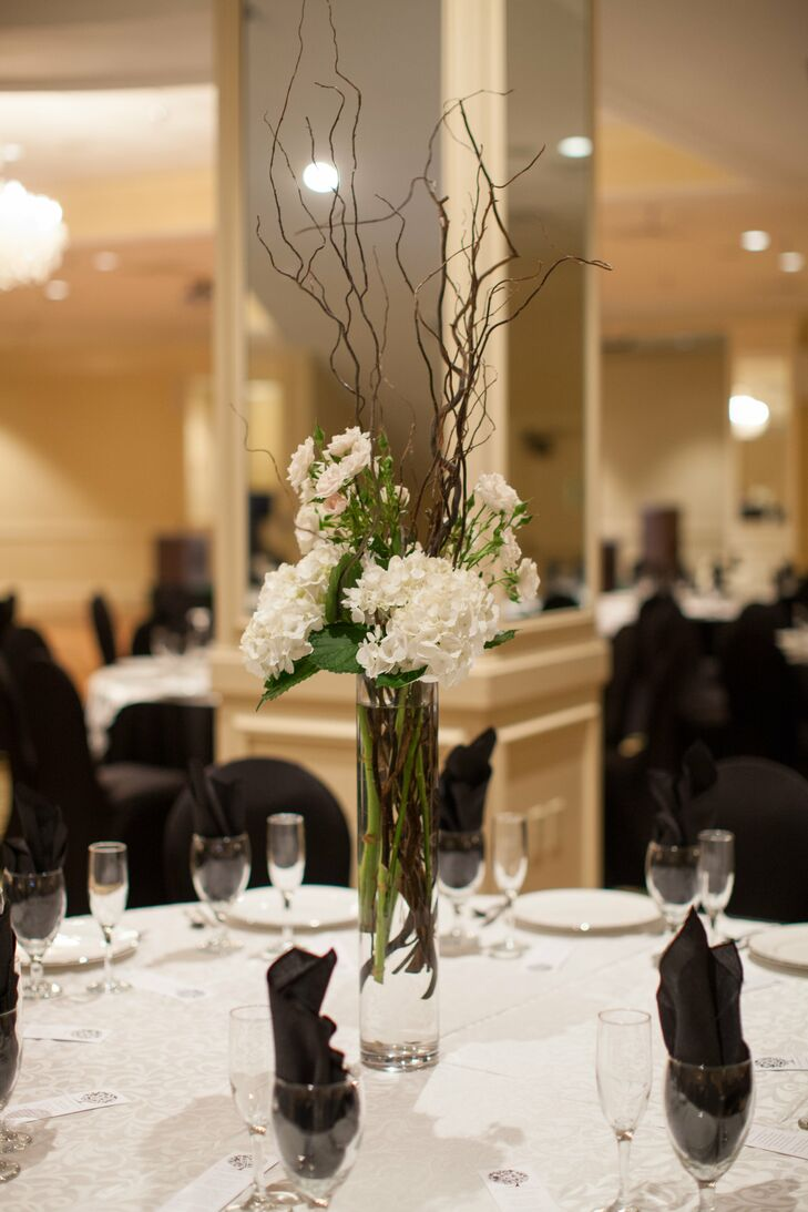 Tall White Hydrangea And Willow Branch Centerpieces