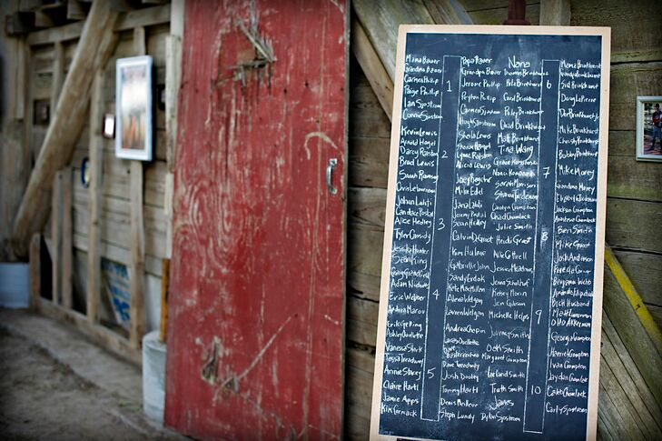 Alexandria made the large chalkboard seating chart that stood outside the old barn doors for the reception.