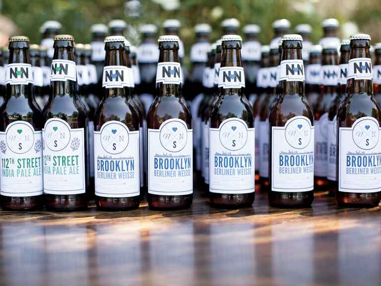 Wedding brews with customized labels