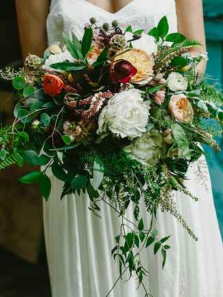 Fern leaf and peony wildflower wedding bouquet ideas
