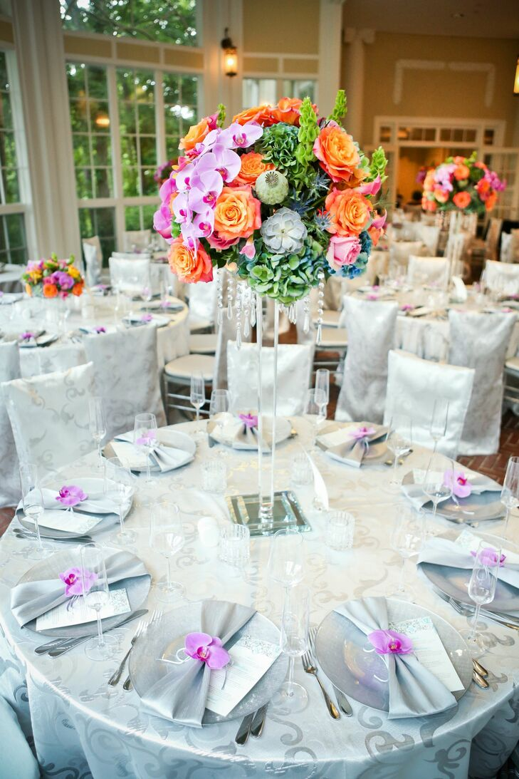 Tall Orange Pink And Green Centerpiece