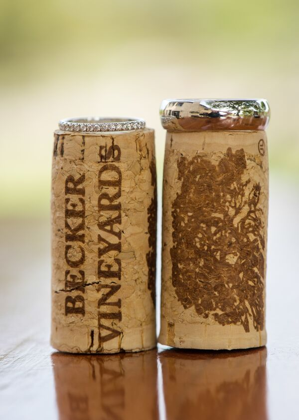 Classic Wedding Rings on Wine Corks