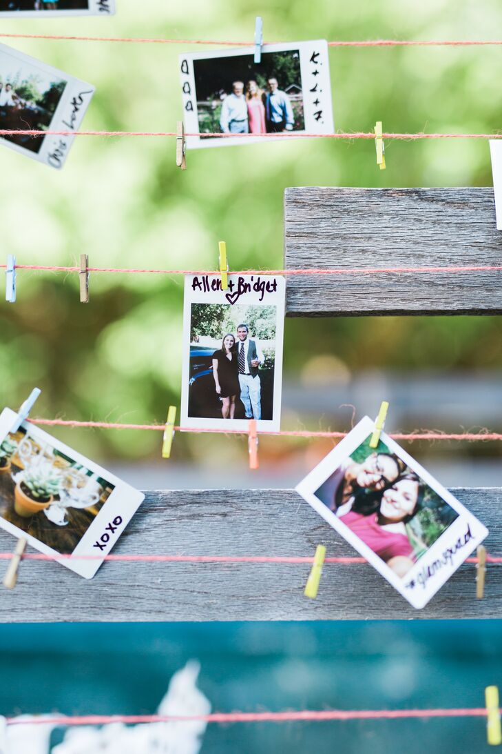 Guests were invited to take Polaroids of themselves throughout the reception and pin them up on a handcrafted photo wall for Devin and Kay to keep.