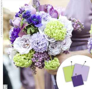 Purple, lavender and light green bouquet