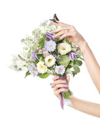 Bridal bouquet with white lisianthus and scabiosa