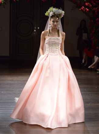 Naeem Khan Fall 2016 pink strapless ball gown wedding dress with embroidered bodice