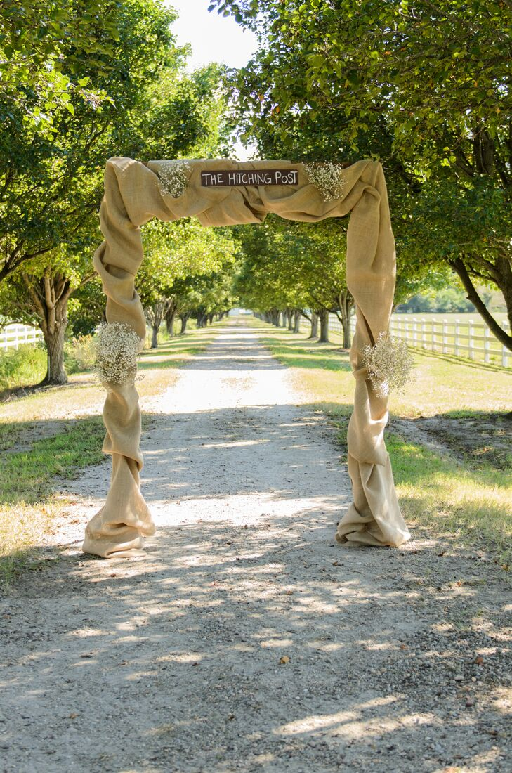 Burlap And Babys Breath Wedding Arch
