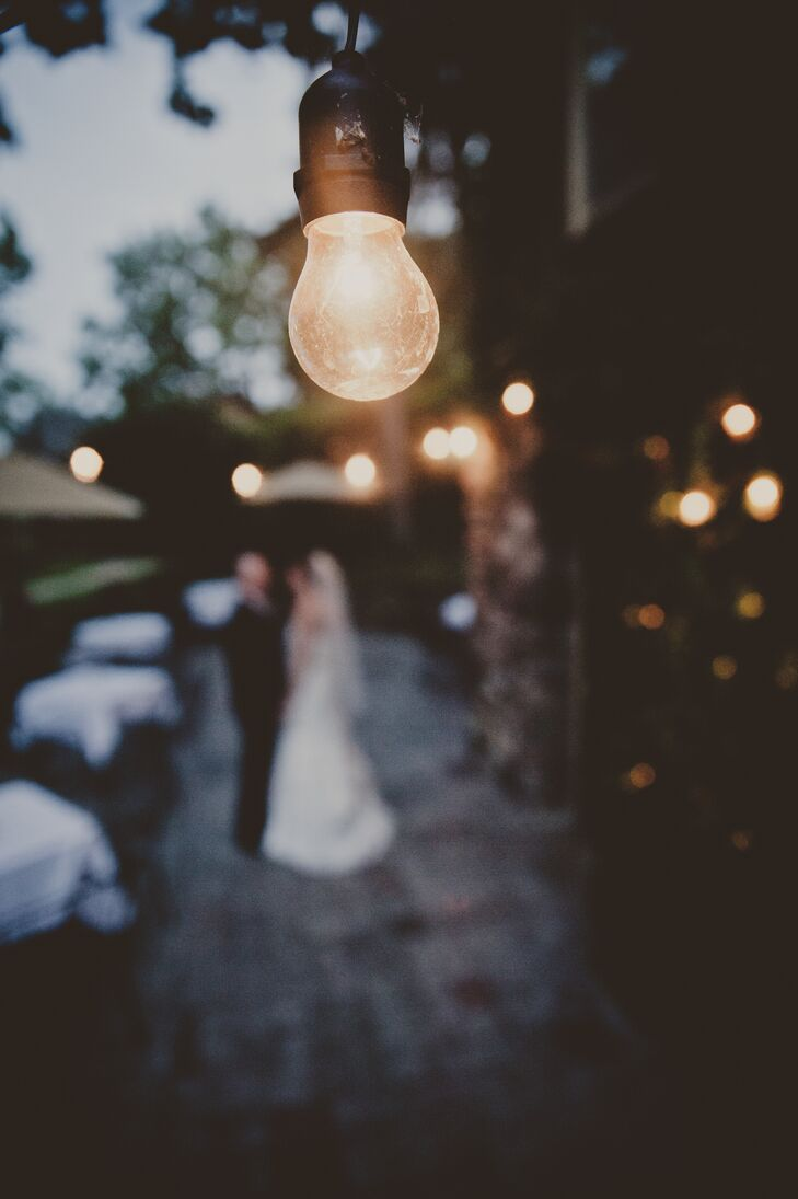 Bride and Groom with String Lights