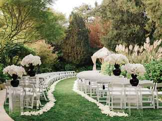 Modern outdoor black and white wedding ceremony