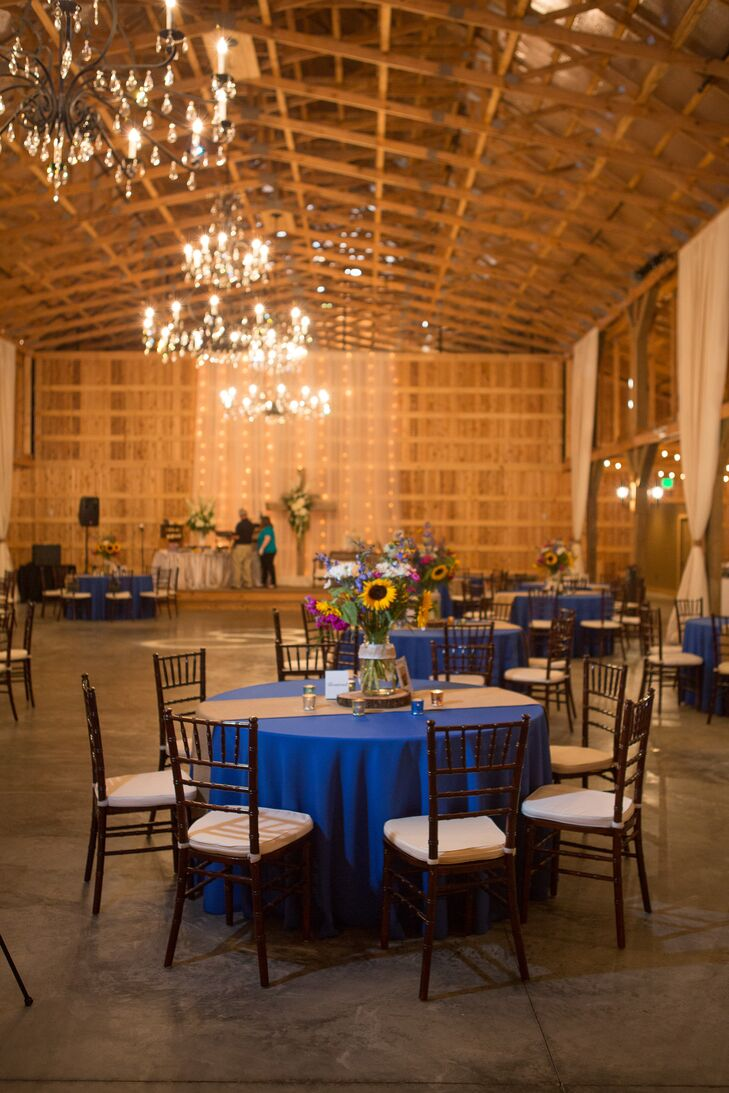 Royal Blue And Burlap Dining Table