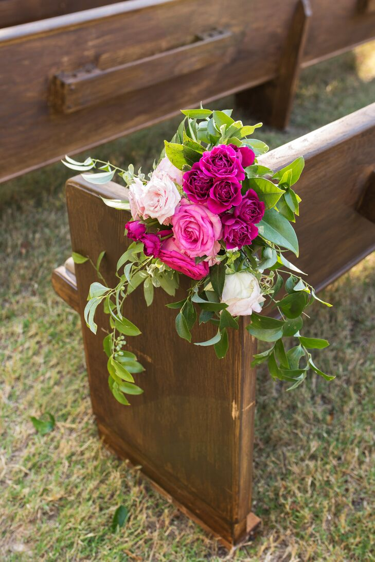 Fuchsia and Pink Rose Aisle Arrangements