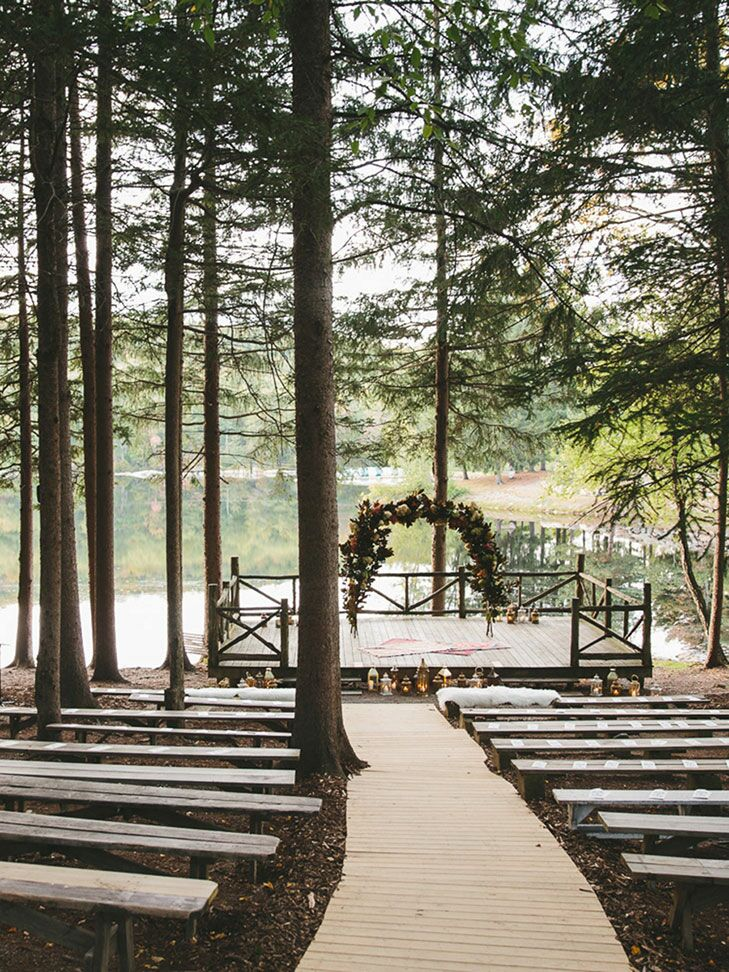 Outdoor ceremony with benches