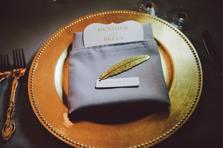 Gold-Feather Place Cards