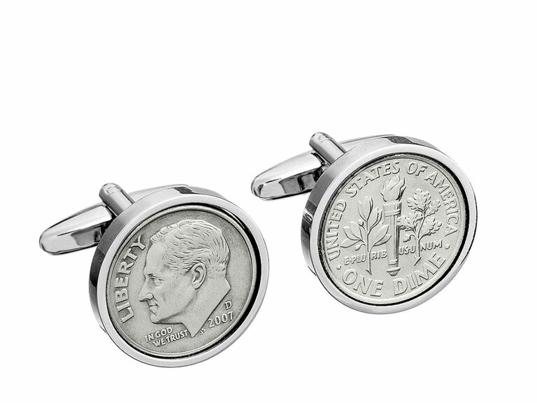 Dime cufflinks 10 year anniversary gift for him