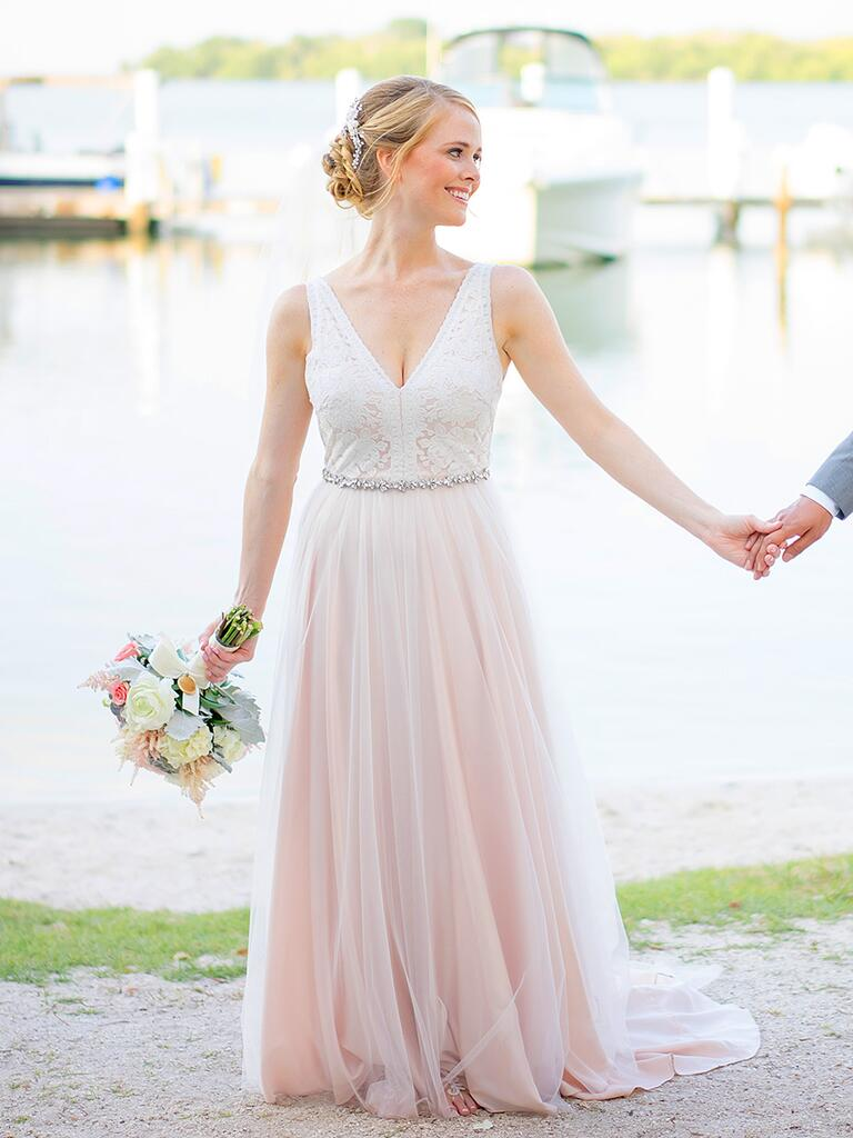 Wedding Blush Pink Wedding Dress the prettiest blush and light pink wedding gowns bhldn gown