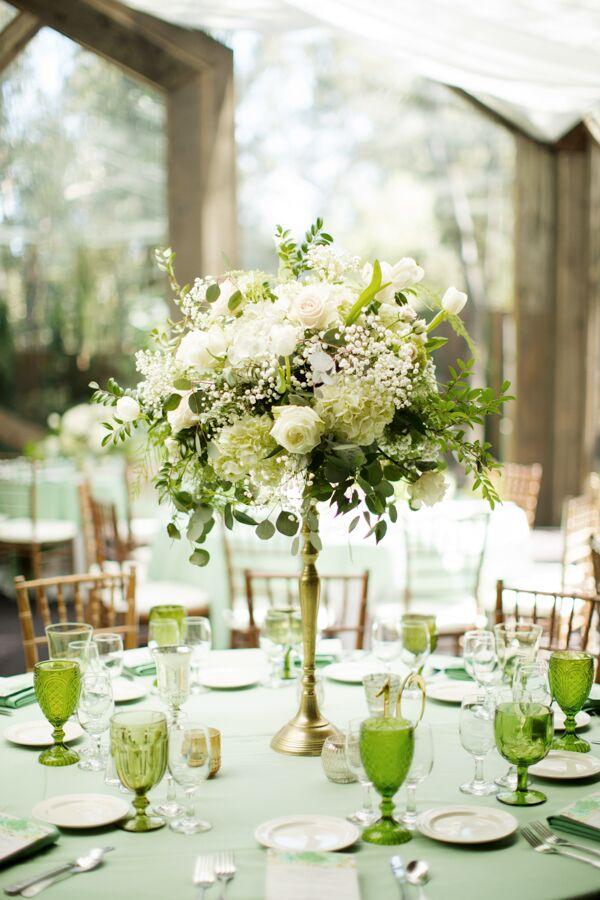 Garden Fresh Green And White Flower Centerpieces
