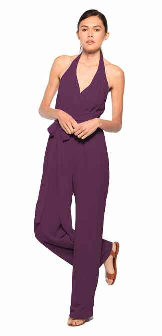 purple bridesmaid jumpsuit by Joanna August