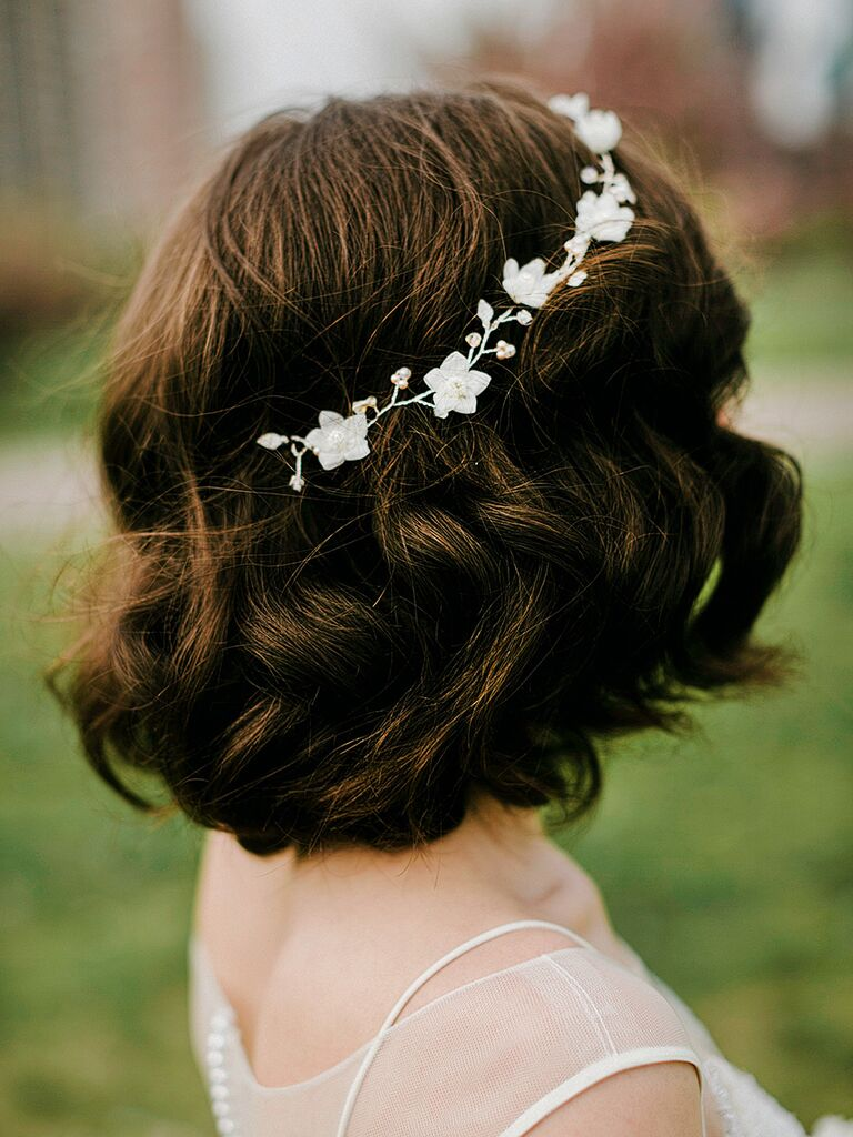 Short Bob Wedding Hairstyle With A Jeweled Flower Crown