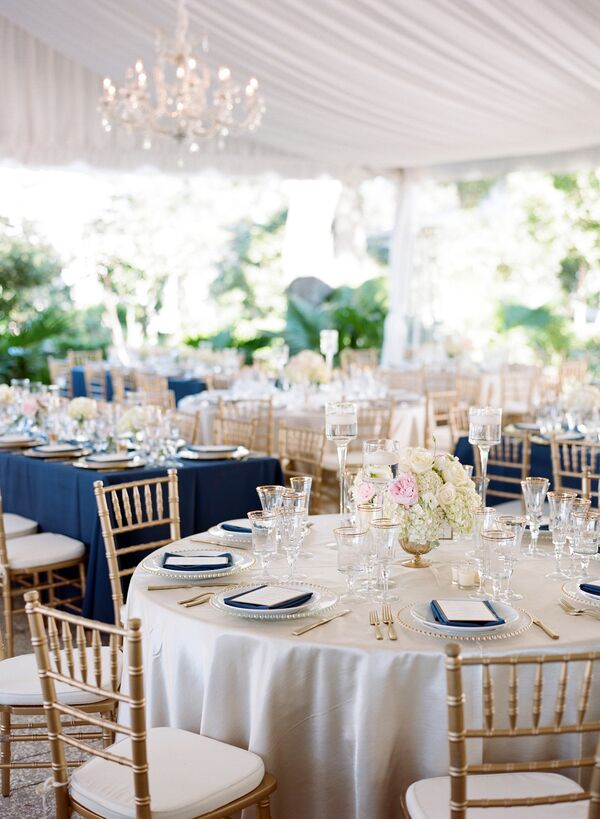 Polished Navy, Gold and Blush Reception Decor