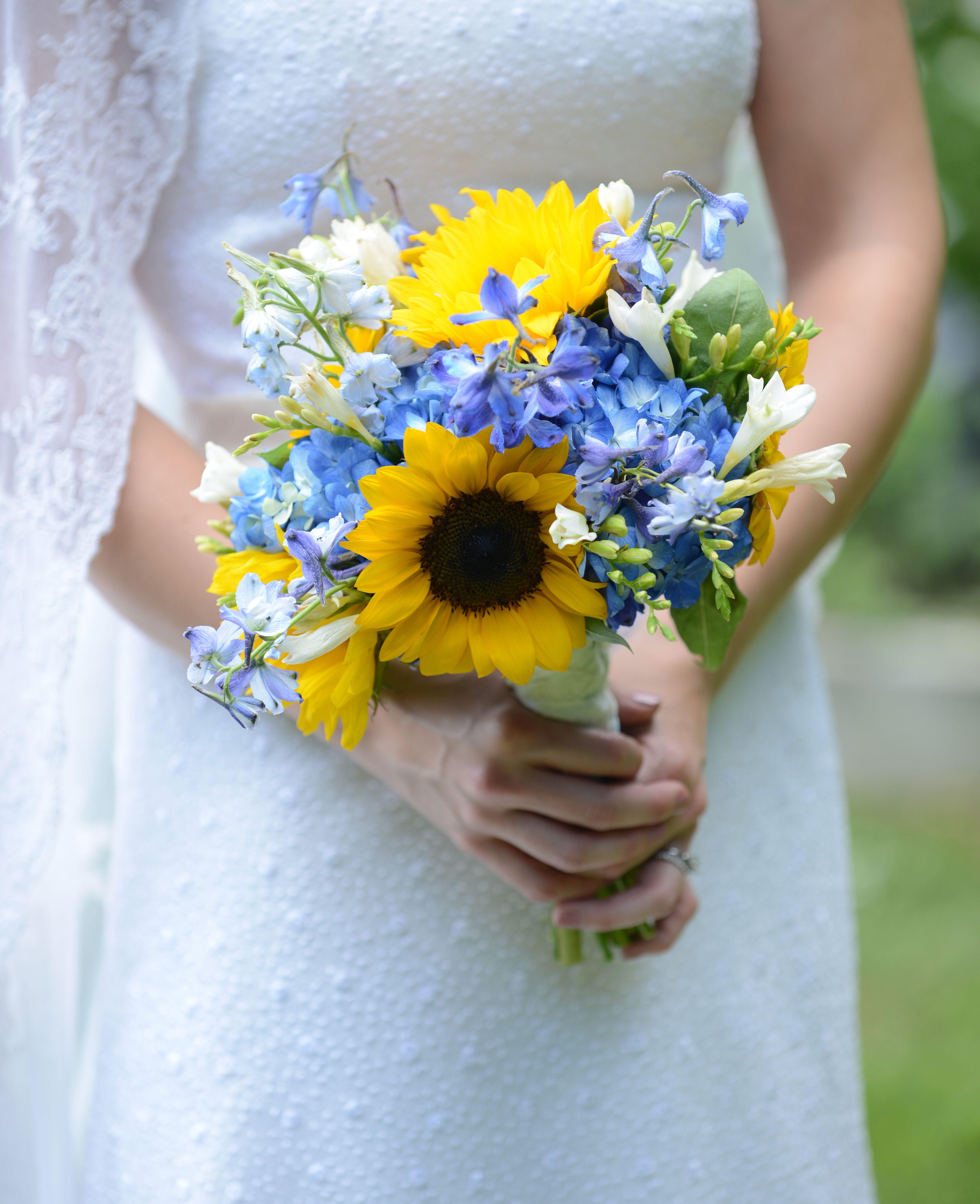 Summery Sunflower And Blue Delphinium Bridal Bouquet