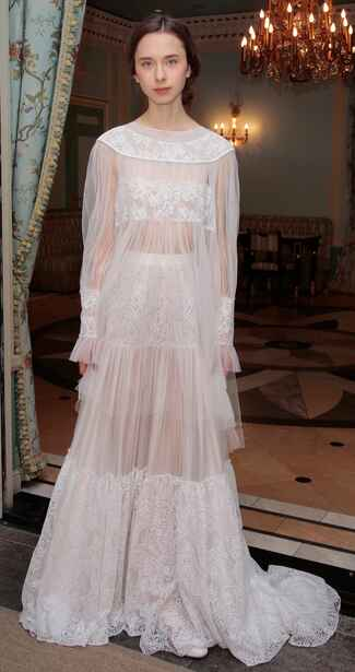 Delphine Manivet Spring 2017 sheer scoop neck sheath wedding dress with tiered skirt