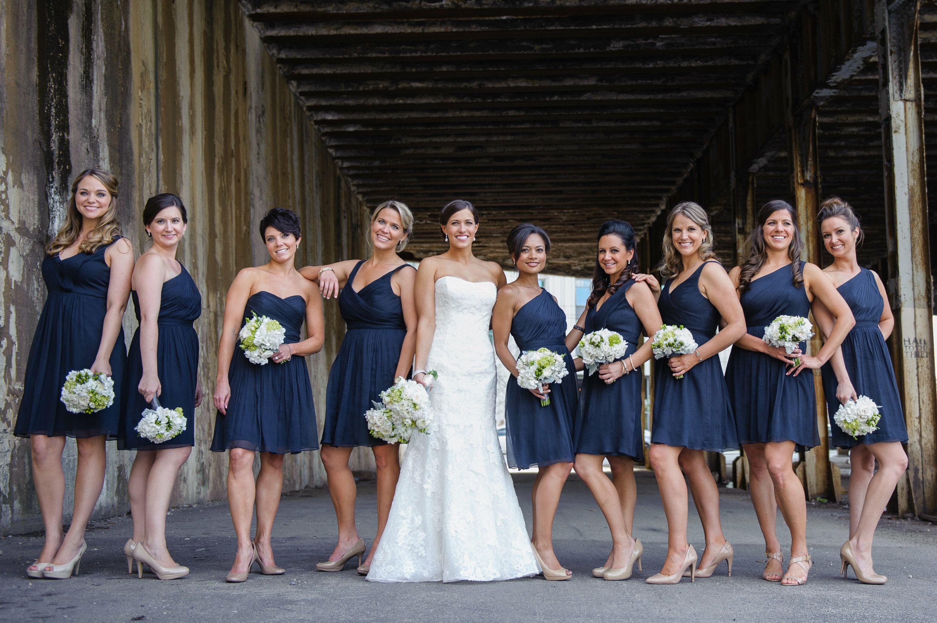 J.Crew Navy Chiffon Bridesmaid Dresses