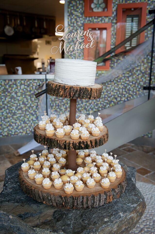 Wood Slab Wedding Cake Stand