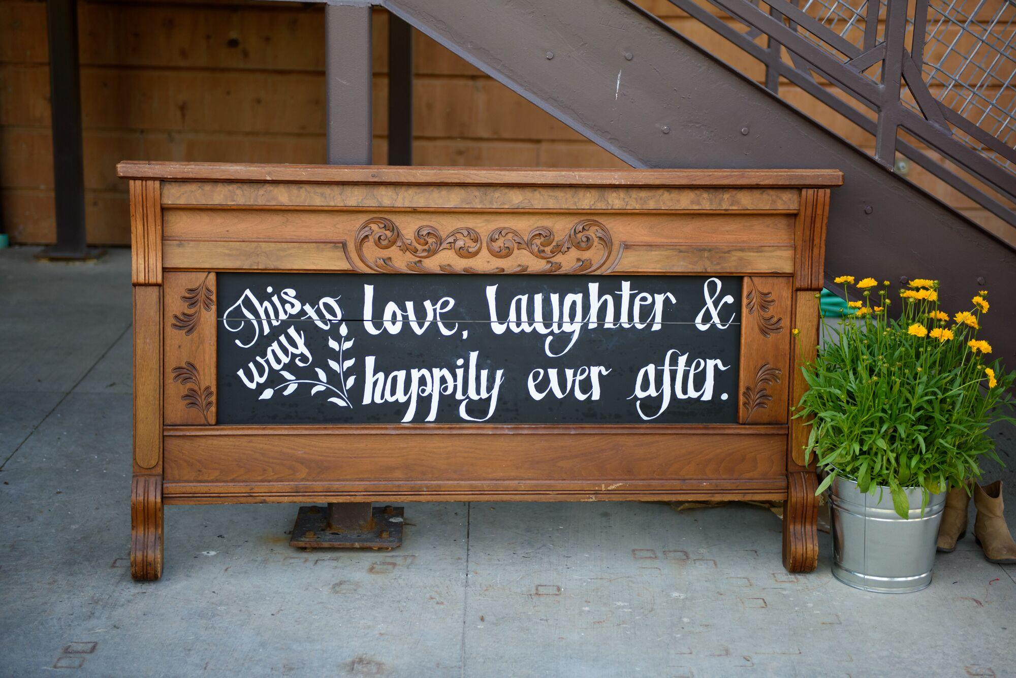 Vintage Wooden Headboard Wedding Welcome Sign