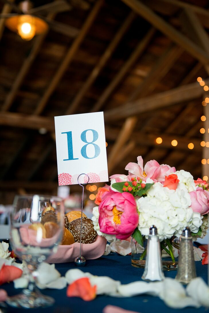 Blue Table Numbers With Coral Flowers Accent