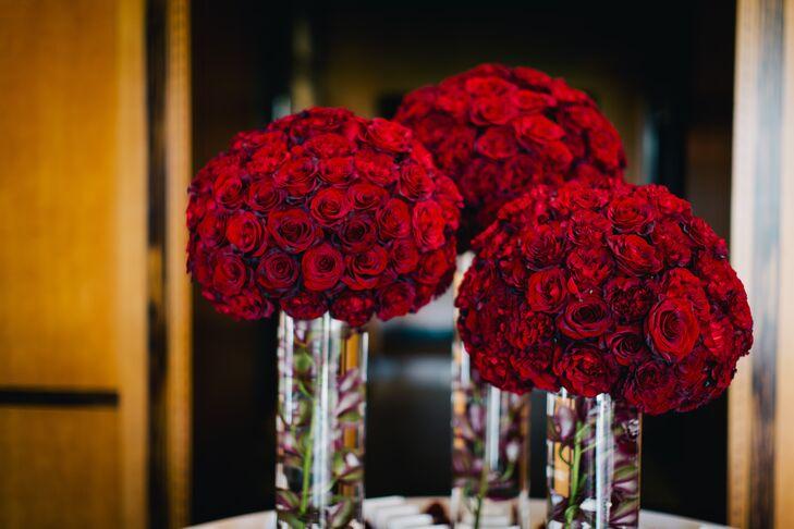 Elegant red rose centerpiece