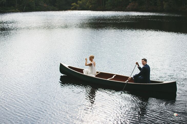 """I've seen so many brides go through this day, so for me to finally be the bride was interesting,"" says Amy, who is a TV producer working on reality wedding shows. ""I think it led me to be more relaxed because I knew what to expect. And it made me willing to get in a canoe before the ceremony to get the perfect shots for our photographer. I know what it's like to want to get the right shot."""