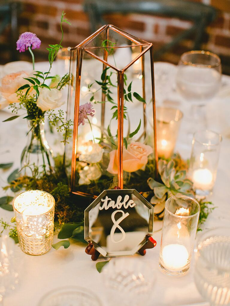 Simple Wedding Centerpiece With Candles And Succulents