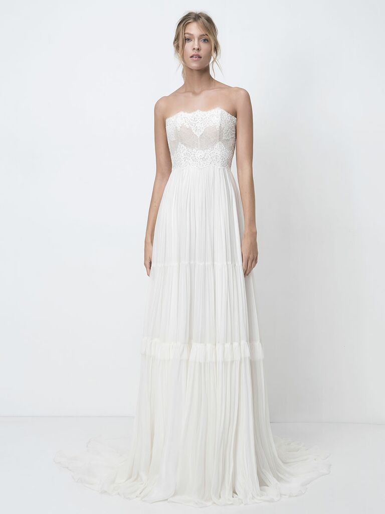 Lihi Hod Fall 2018 wedding dresses strapless gown with embroidered bodice