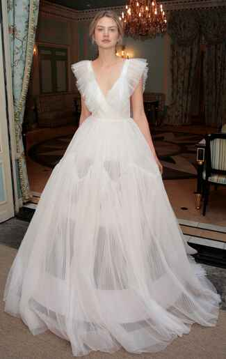 Delphine Manivet Spring 2017 tented sheer A-line lamp shade wedding dress with sheer collar