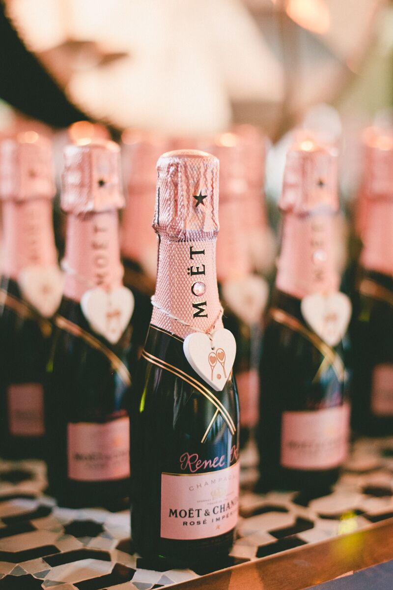 rose gold moet champagne escort cards