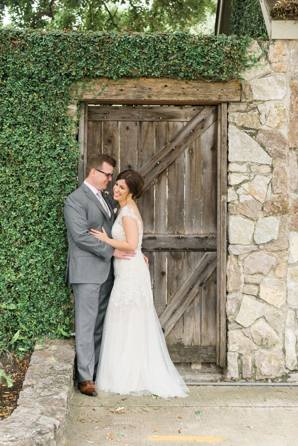 Pale Gray Suit and Vintage-Inspired Lace Gown
