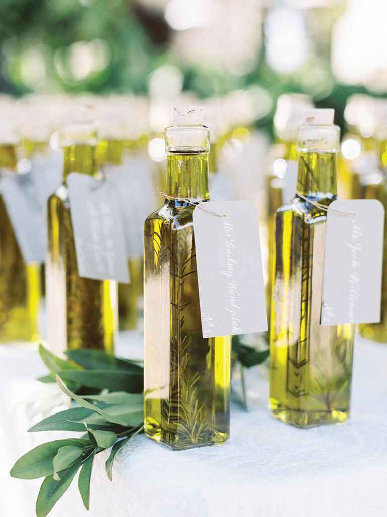 Olive oil escort card idea for a creative wedding idea