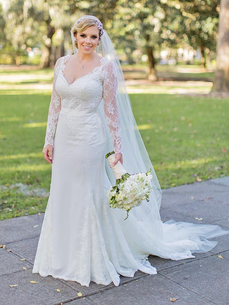 Long sleeved lace wedding gown from Chic Parisien